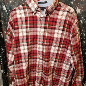 Tommy Hilfiger Red Plaid Crest On Pocket Button Up